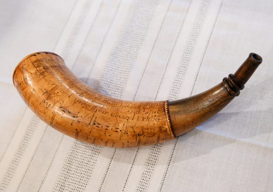 A powder horn carved for soldier Lt. Abel Prindel on June 30, 1757 has been returned to the Dearborn Historical Museum.