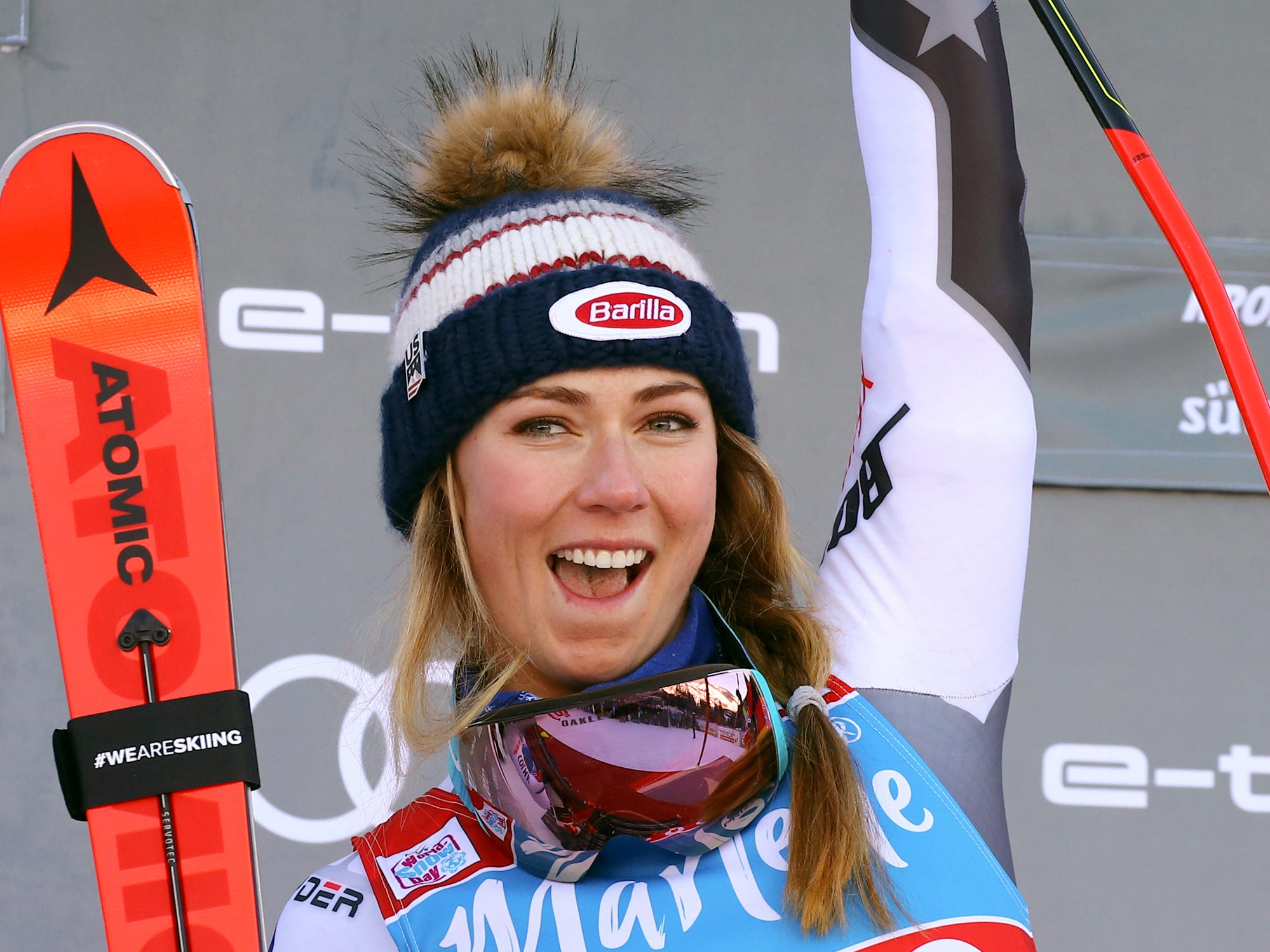 United States' Mikaela Shiffrin celebrates winning the women's World Cup giant slalom, in Kronplatz, Italy, Tuesday, Jan. 15, 2019.