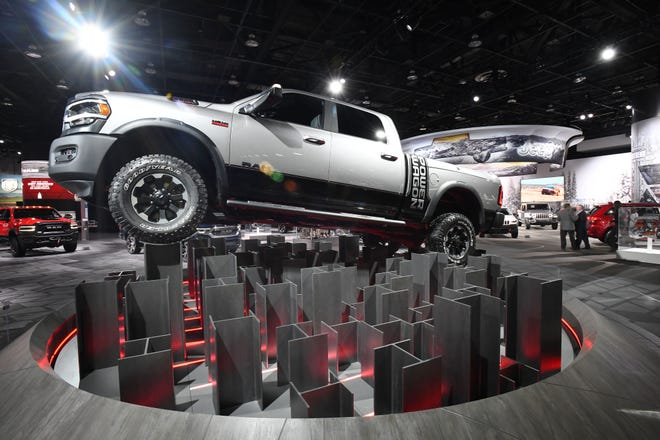 A Ram 2500 Power Wagon is on display Tuesday at the Detroit auto show. The EPA  certified the emission of this heavy-duty pickup but the continuing shutdown of the federal government has suspended emissions certification of Ram's 3500 pickup.