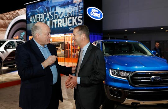 Ford Motor Co. CEO Jim Hackett, left, met with Herbert Diess, who is chairman of the board  Volkswagen Group, at January's Detroit auto show.