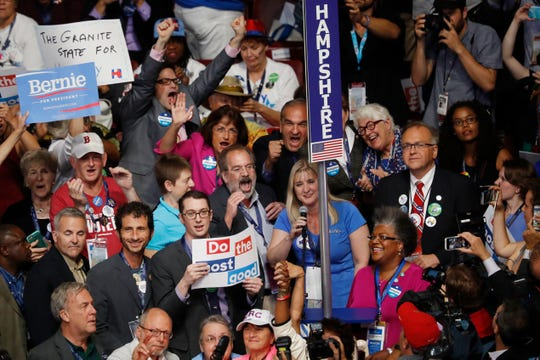 The delegates from New Hampshire cast their votes for President of the United States during the second day of the Democratic National Convention in Philadelphia , Tuesday, July 26, 2016.