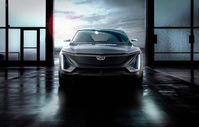 Cadillac unveils the brand's first electric vehicle on Sunday, January 13, 2019.