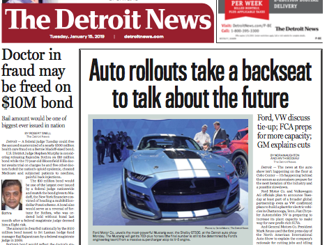 The front page of The Detroit News on Tuesday, January  15, 2019.