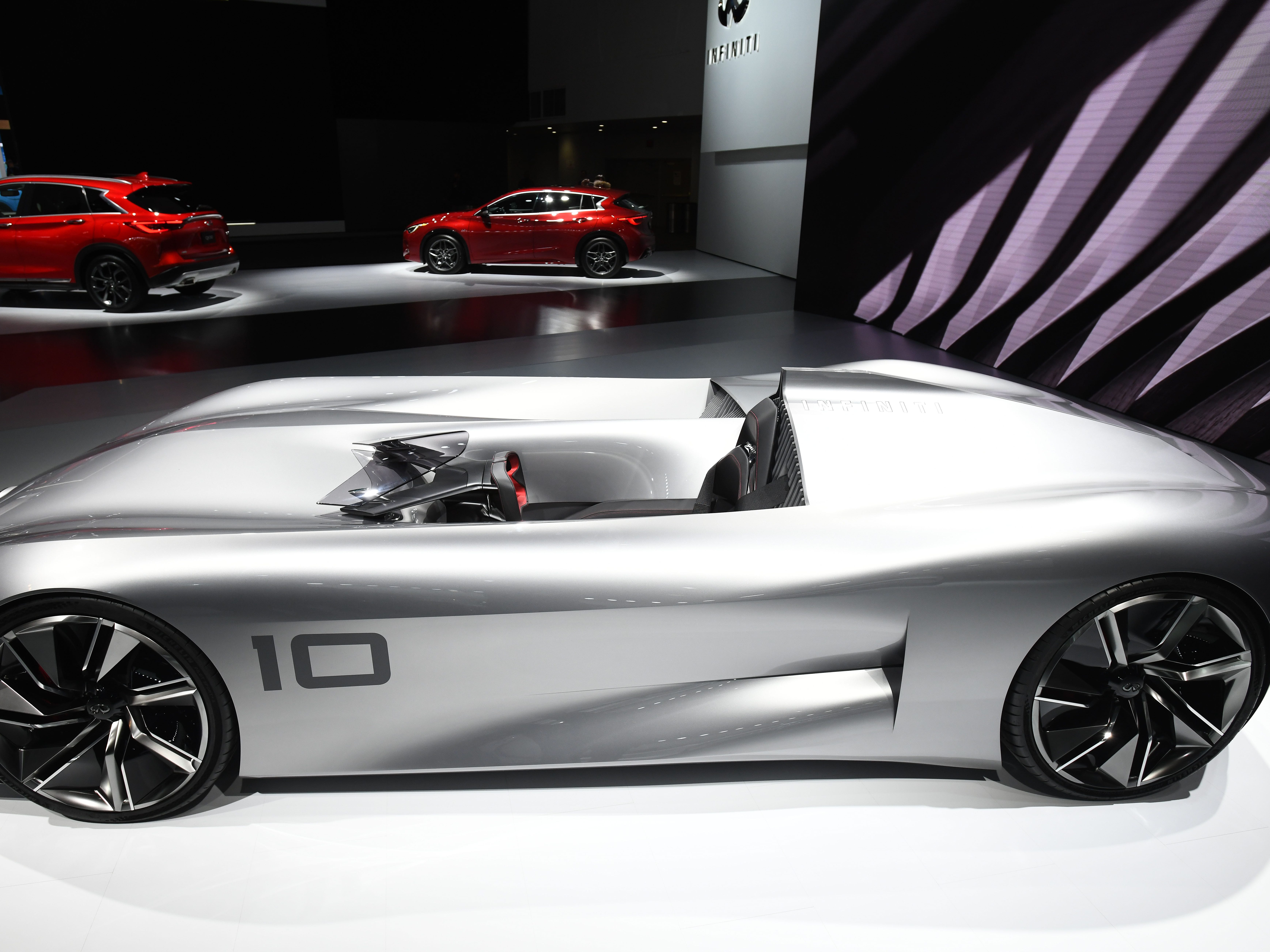 The Infiniti Prototype 10 Concept electric race car is displayed Tuesday, January 14, 2019 at  the North American International Auto Show during media preview days at Cobo Center.