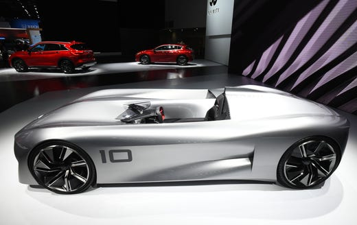 The Infiniti Prototype 10 Concept Electric Race Car Is Displayed Tuesday January 14 2019