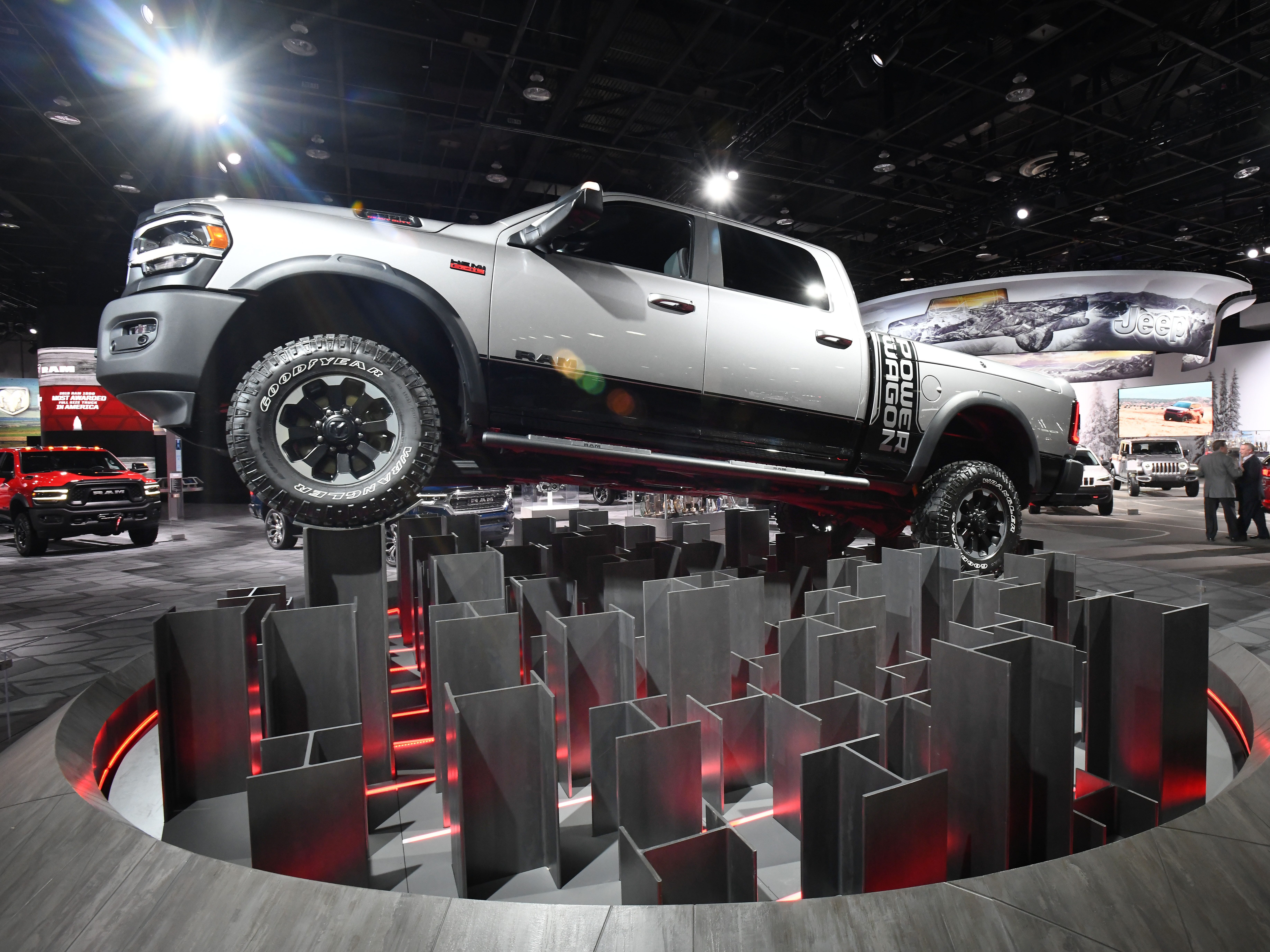 A Ram 2500 Power Wagon is on display during media preview days at Cobo Center.