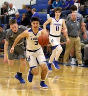 Michael Limoncelli dribbles the ball up the court for a layup for Horseheads during a 90-84 overtime win over Maine-Endwell on Jan. 14, 2019 at Horseheads Middle School.