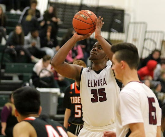 Markel Jenkins of Elmira takes a foul shot during an 82-39 win over Union-Endicott in boys basketball Jan. 14, 2019 at Elmira High School.