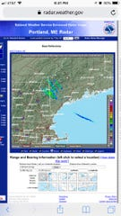 Radar blips are seen over Maine on Dec. 12. Military chaff was reportedly to blame.