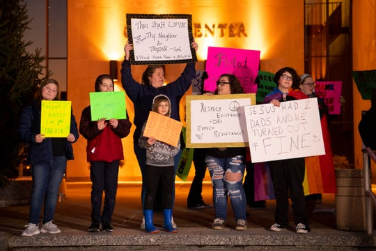 Proponents of the Drag Queen Story Hour event to be held at the Evansville Public Library – North Park on February 23, 2019 voice their support with signs outside the Civic Center before the Council meeting Monday evening.