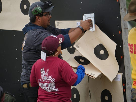 Pete Sanchez helped Jayden hang targets on the range for the Rimfire Match and also stayed by him on the firing line.