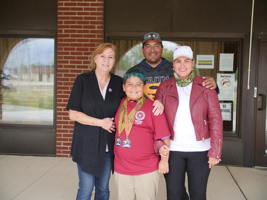 The Sanchez family  attended the  Rimfire Sporter Match at Camp Perry  Left to right are  Joanne's mother, Jayden, Pete and Joanne.