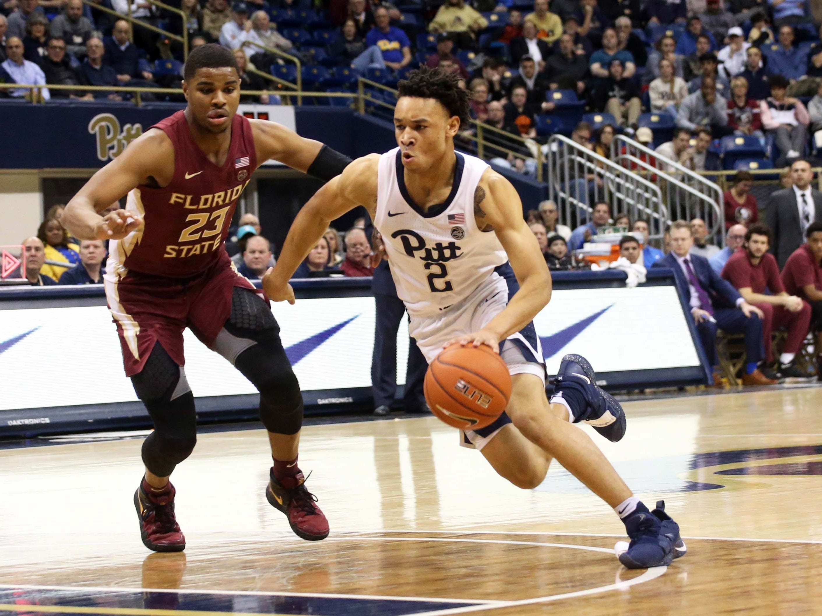 Florida State and guard M.J. Walker (23) suffered yet another defeat during a 75-62 loss to Pittsburgh at the Petersen Events Center on Monday night.