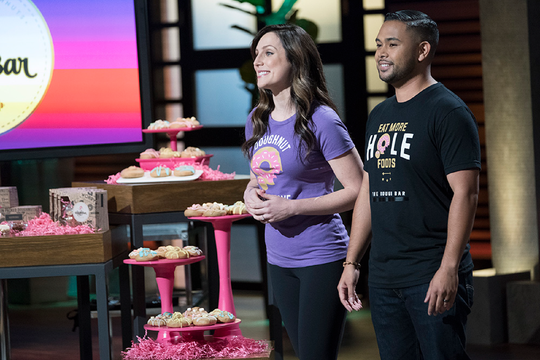 "Ondrea and Marquez Fernandez pitching The Dough Bar doughnuts on an episode of ""Shark Tank."" The bakery is relocating to Fort Collins."