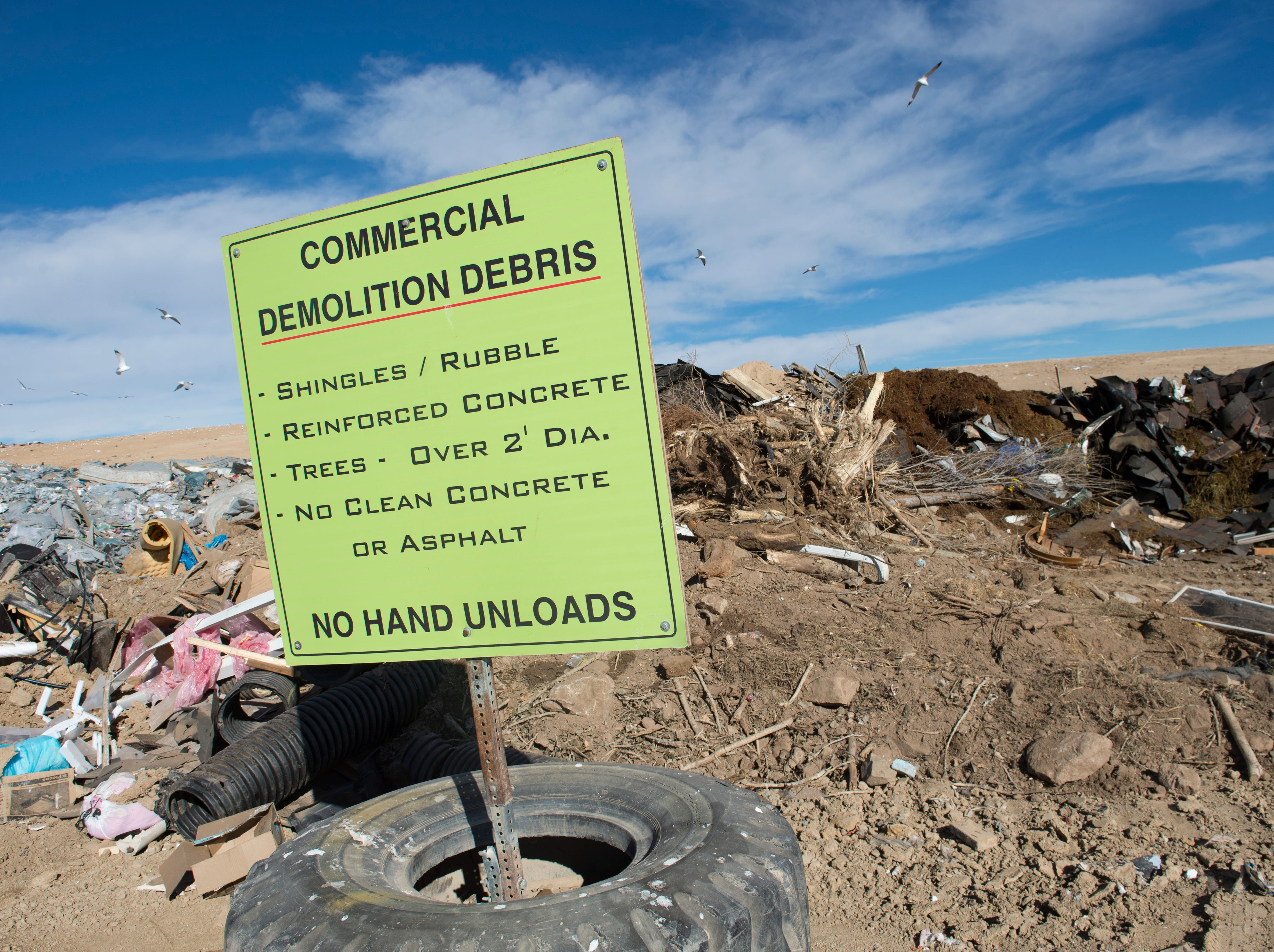 A sign marks dump sites for construction and demolition waste at the Larimer County Landfill on Tuesday, January 15, 2019.