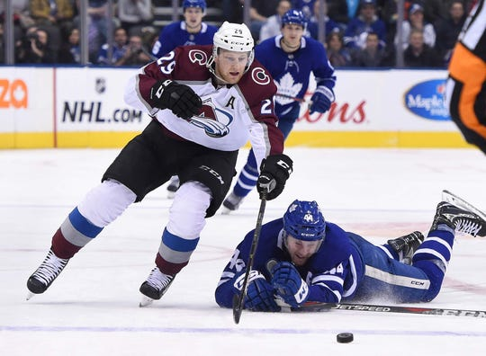 Forward Nathan MacKinnon, shown during Monday night's game in Toronto, and the Colorado Avalanche play a 5:30 p.m. game Wednesday at Ottawa that will be televised regionally by Altitude Sports.