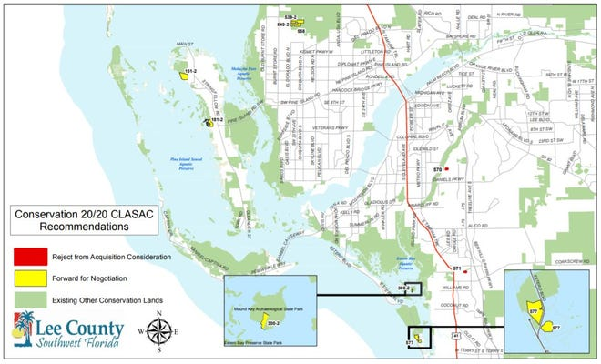 A map from the county shows the parcels commissioners voted to purchase on Tuesday.