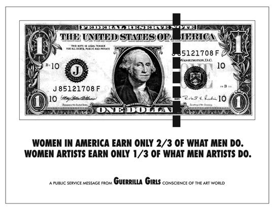This 1985 Guerrilla Girls poster showed the difference in pay between male and female artists.