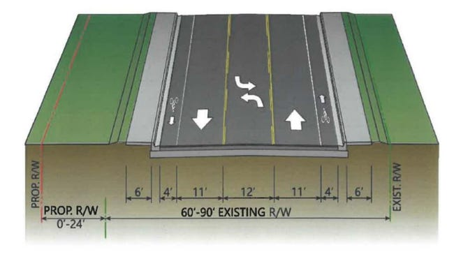 A rendering of the three-lane alternative included with a study compiled by AIM Engineering & Surveying.