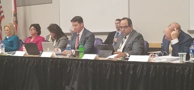 Members of the all-Republican Lee County legislative delegation, Heather Fitzenhagen, Kathleen Passidomo, Lizbeth Benaquisto, Dane Eagle, Ray Rodrigues and Spencer Roach hear pleas from local governments and organizations at public meeting Tuesda.
