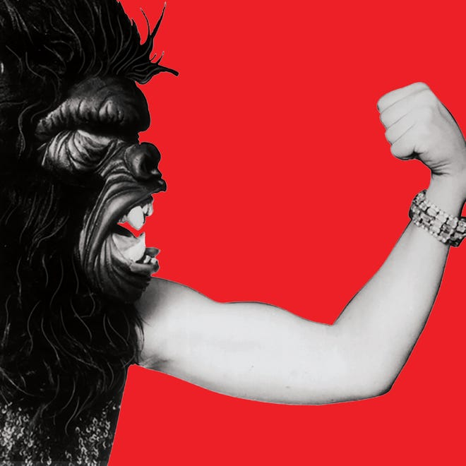 """A promotional image for the exhibit """"Guerrilla Girls: Rattling Cages"""" at Bob Rauschenberg Gallery in south Fort Myers."""