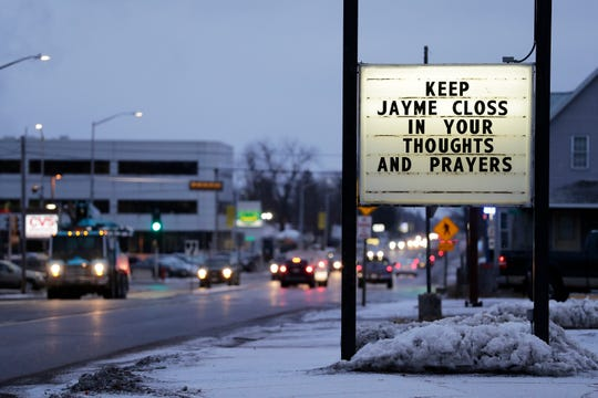A sign for Jayme Closs is displayed on Monday, January 14, 2019 in Barron, Wis.