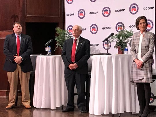 State Senate District 6 Republican candidates, from left, Jeffrey Stringer, state Rep. Dwight Loftis and Greenville City Councilwoman Amy Ryberg Doyle took part in a debate Tuesday night at Bob Jones University.