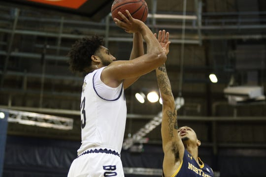 Montana State's Tyler Hall eyes the basket during Big Sky Conference action against Northern Colorado on Monday night in Bozeman.