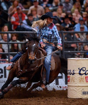 Callahan Crossley makes her run in the barrel racing event during the Montana Pro Rodeo Circuit Finals in the Pacific Steel and Recycling Four Seasons Arena, Friday, January 11, 2019. A contract extension will bring the finals back to Four Seasons in 2020, 2021 and 2022.