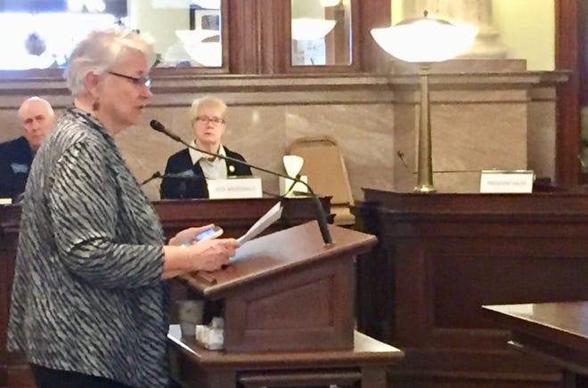 Sen. Diane Sands, D-Missoula,  talks Tuesday about Senate Bill 52, which is about sexual assault kits.
