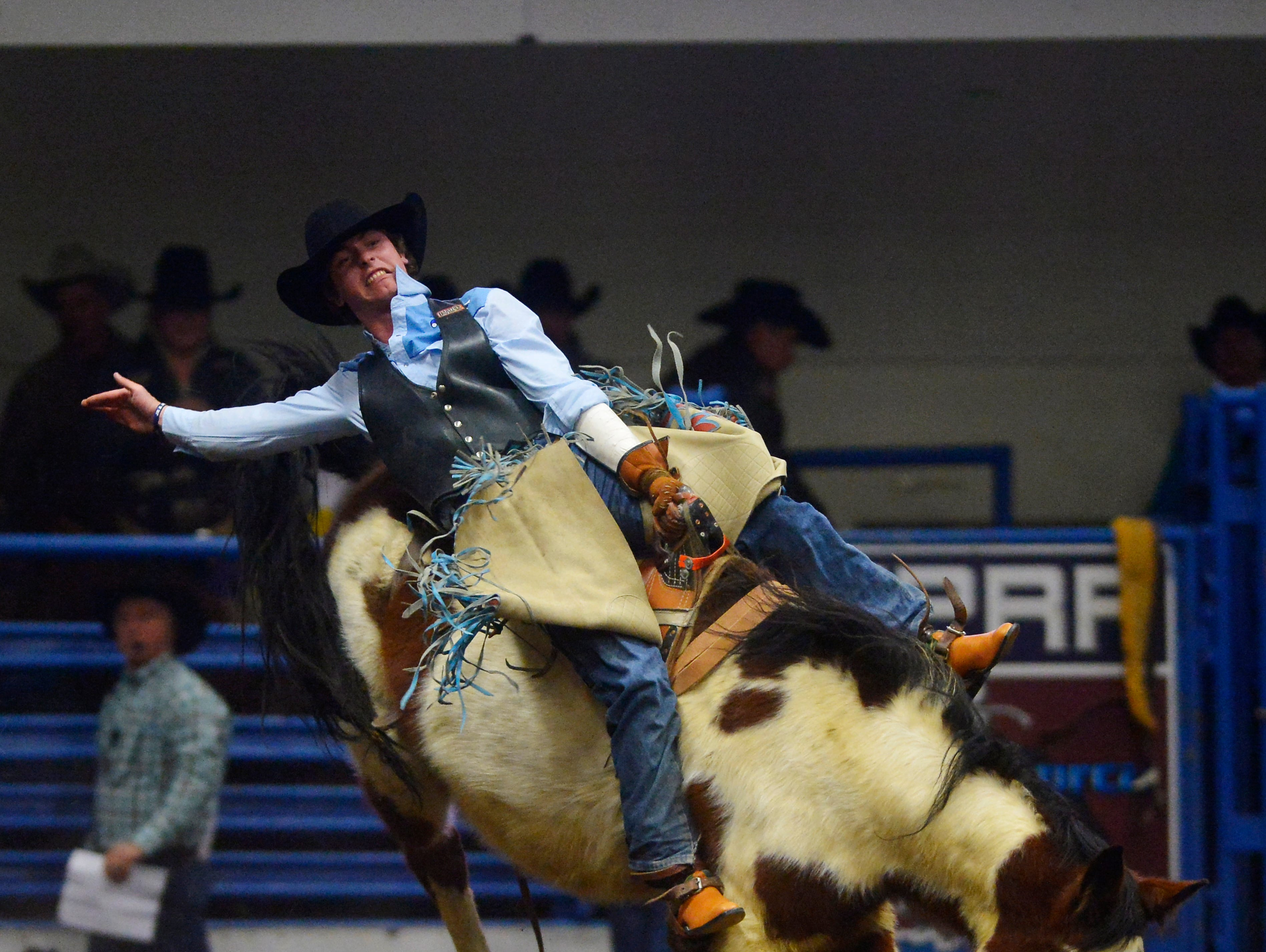 Troy Kirkpatrick competes in the bareback event during the Montana Pro Rodeo Circuit Finals in the Pacific Steel and Recycling Four Seasons Arena, Friday, January 11, 2019.