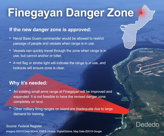 The proposed surface danger zone associated with a firing range on military property at Finegayan.