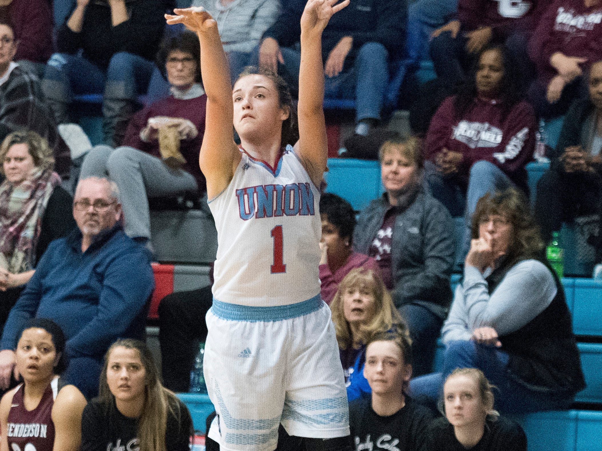 Union County's Emily Hibbs (1) takes a three-point shot during the Henderson County vs Union County game at Union County High School Monday, Jan. 14, 2019.