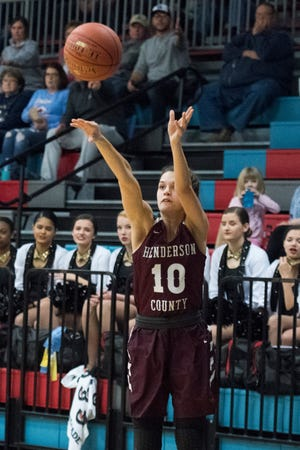 Henderson County's Katie Rideout (10) takes a three-point shot during the Henderson County vs Union County game at Union County High School Monday, Jan. 14, 2019.