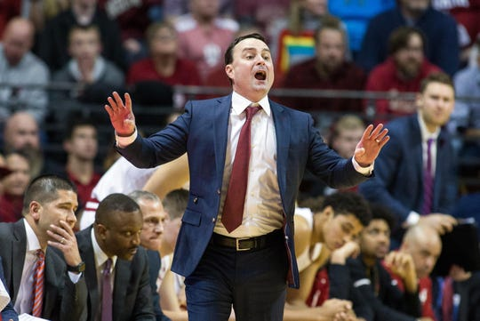 Indiana Hoosiers head coach Archie Miller yells a play from the sideline in the second half against the Nebraska Cornhuskers at Assembly Hall.