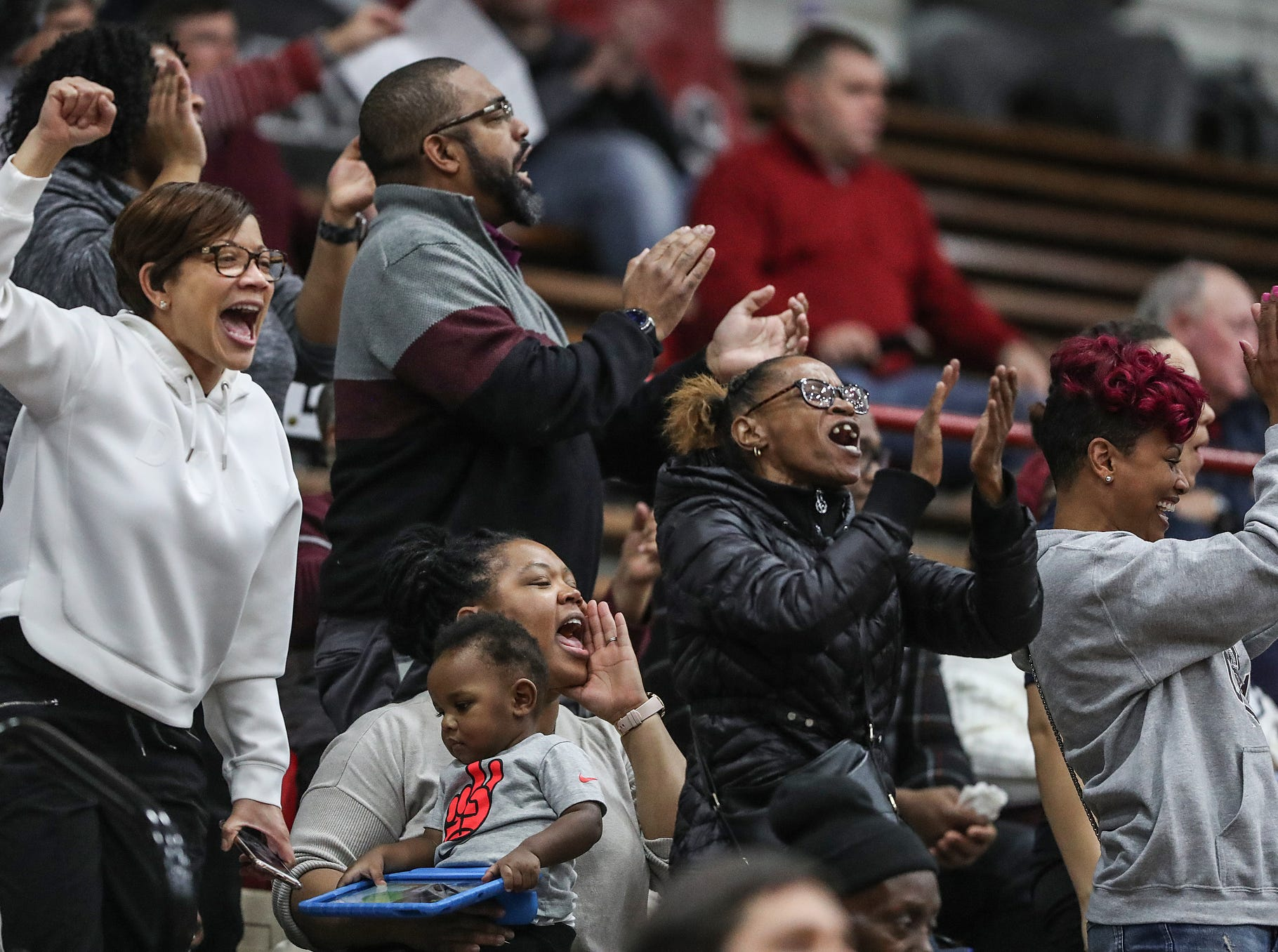 Lawrence Central Bears fans cheer in the first half of Marion County tournament finals at Southport High School in Indianapolis, Monday, Jan. 14, 2019. Warren Central won the title, 60-56.