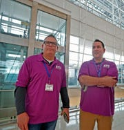 Drew MacQueen (left) is Great Lakes Region Vice President for the NATCA, and Marc Schneider is a facilities representative for Indianapolis.