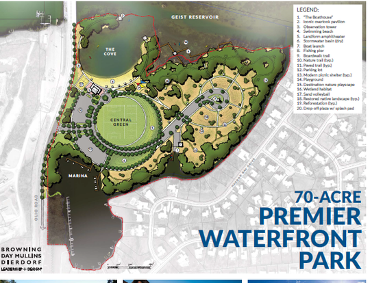 A rendering of the proposed beach and park that will be open to the public could take 5 years to build.