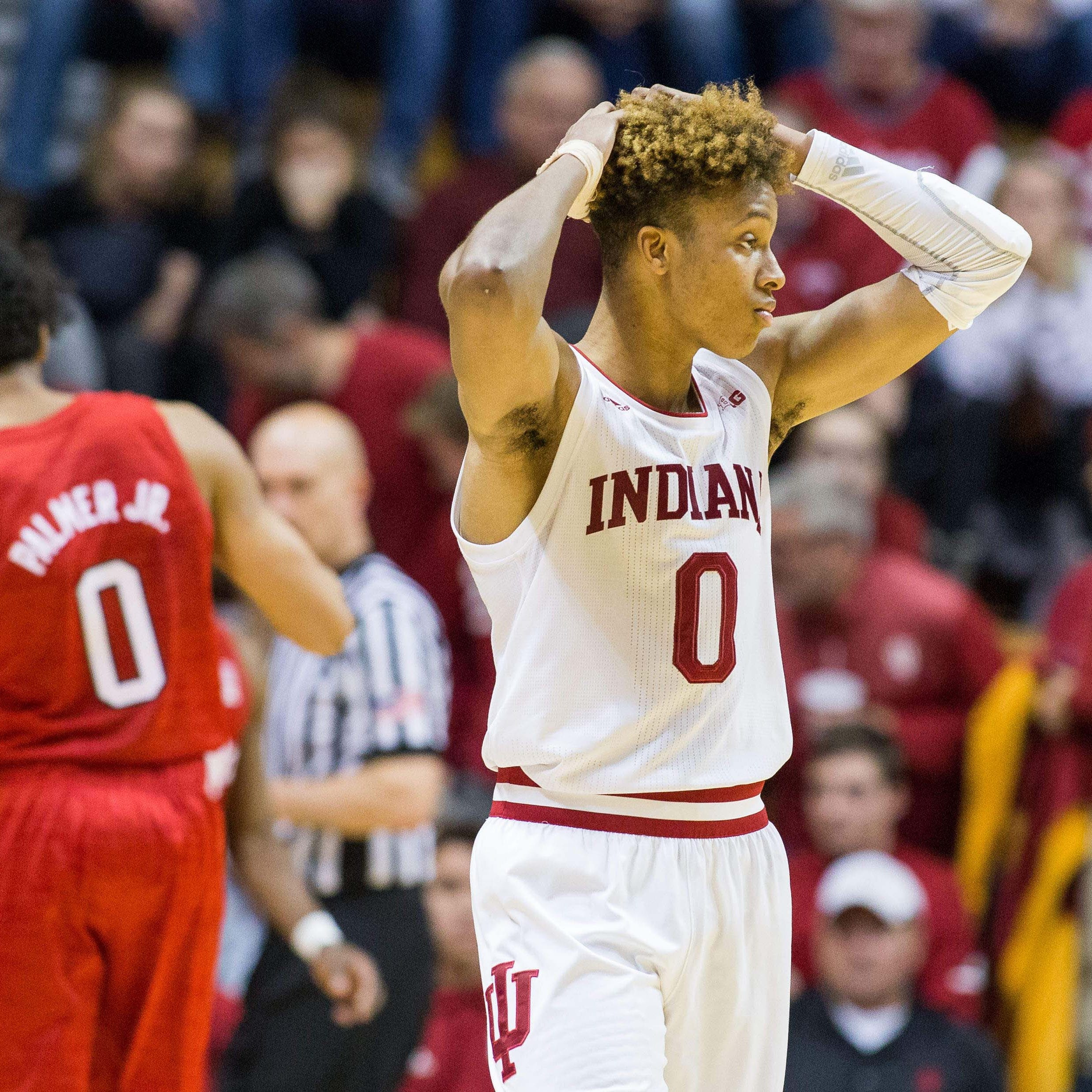 Indiana Hoosiers guard Romeo Langford (0) reacts...