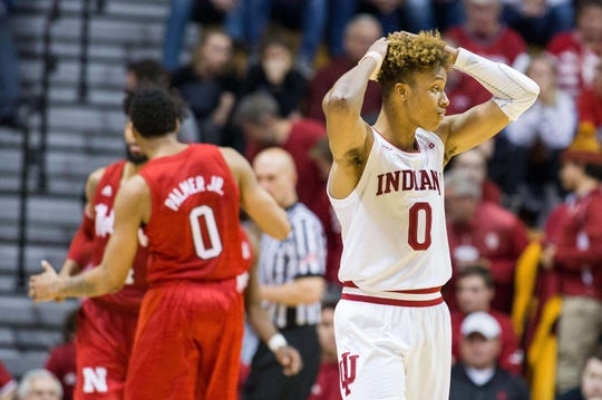 Indiana Hoosiers guard Romeo Langford (0) reacts to a turnover in the second half against the Nebraska Cornhuskers at Assembly Hall.