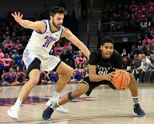 Butler guard Henry Baddley shown during last year's trip to DePaul. The Dawgs have won 18 straight games in Chicago.