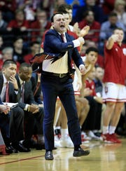 Archie Miller the head coach of the Indiana Hoosiers gives instructions to his team against the Nebraska Cornhuskers at Assembly Hall on January 14, 2019 in Bloomington, Indiana.