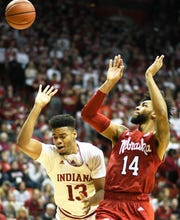 Indiana Hoosiers forward Juwan Morgan (13) is called for an offensive foul during the game against Nebraska at Simon Skjodt Assembly Hall in Bloomington, Ind., on Monday, Jan. 14, 2019.