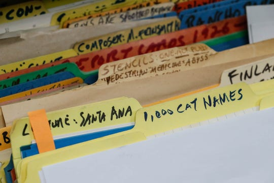 "A file titled ""1,000 cat names"" is one of many original files inside the Center for Ray Bradbury Studies inside Cavanaugh Hall on the IUPUI campus on Thursday, Jan. 10, 2019."