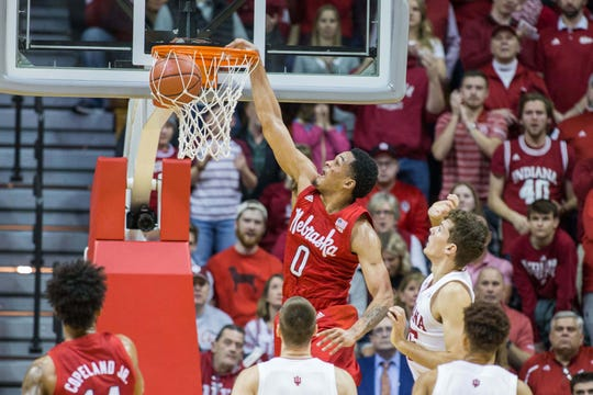 Cornhuskers guard James Palmer Jr. (0) slam dunks the ball in the first half against the Indiana Hoosiers at Assembly Hall.