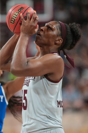 Mississippi State's Teaira McCowan (15) has led the Bulldogs to a 4-0 start in Southeastern Conference play with double-doubles in all four games.