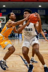 Jayveous McKinnis drives into the lane during Jackson State's game against Southern on Monday at the Lee E. Williams Athletic and Assembly Center.