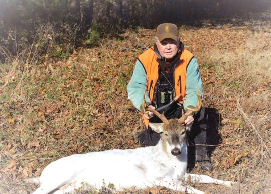 Jim Odle of Madison County shot this piebald deer on Thanksgiving day, 2018 near the Chickasaw State Forest.