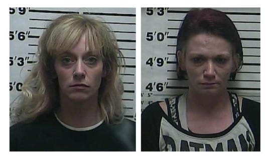 Rebecca Todd Hogan, 34, and Amberley Hicks, 32, were arrested Monday after a house search in Weakley County. Hicks is charged with filing a false report, while Hogan faces charges for prior methamphetamine-related warrants.