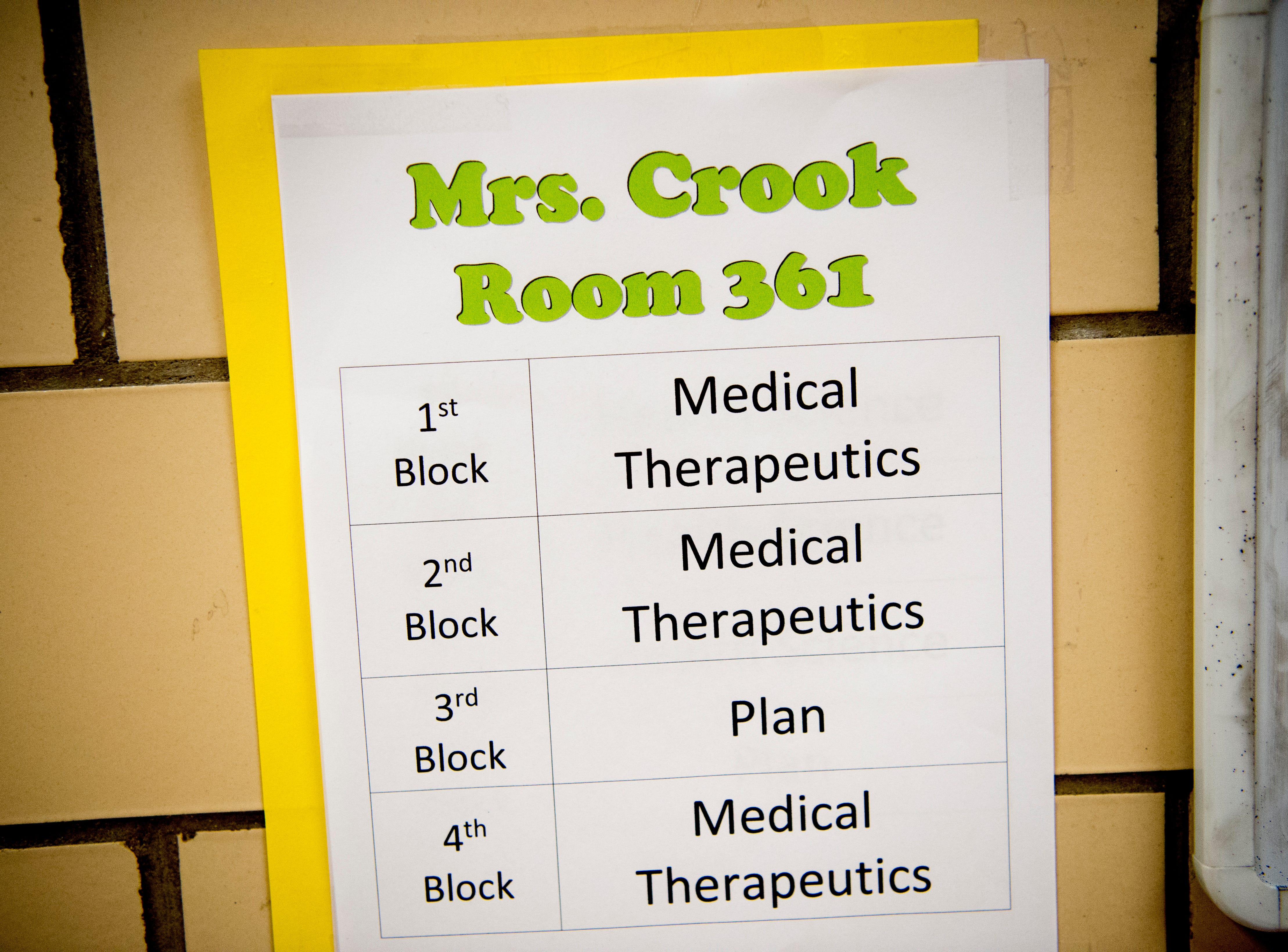 A schedule outside of Anita Crook's medical therapeutics class at Maryville High School in Maryville, Tennessee, on Friday, January 11, 2019. More time with teachers as well as time to study and work on homework are some of the benefits students enjoy when on block schedules.